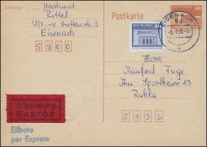 P 86I Bauwerke 10 Pf. mit 1948 Eil-Postkarte FDC ET-O EISENACH 8.7.86 nach Ruhla
