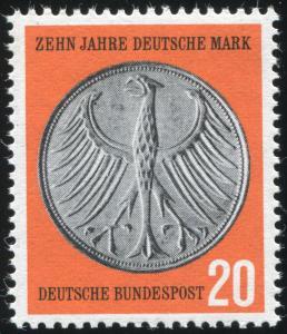 291II Deutsche Mark mit PLF II Fleck an linker Flügelspitze, Feld 2, **