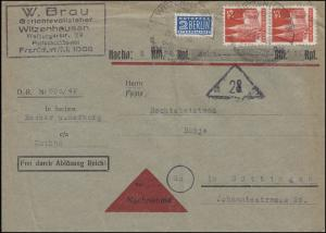 87 wg Bauten 25 Pf MeF NN-Brief Gerichtsvollzieher SSt WITZENHAUSEN 20.8.49