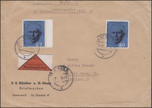 344 Marshall MeF auf portog. NN-Brief HANNOVER 19.12.60 nach REES 21.12.60