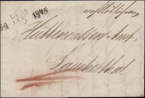 Vorphilatelie Württemberg Brief Zweizeiler ULM 24. JAN. 1845 nach Laucherthal