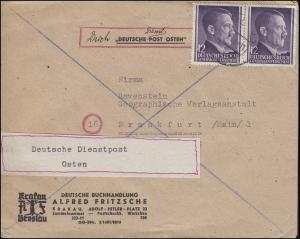 Deutsche Dienstpost Osten Generalgouvernement 101 MeF KRAKAU 7.9.44 n. Frankfurt