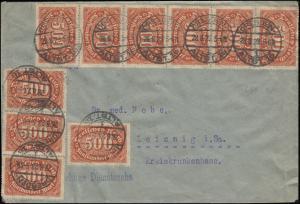 251+273 INFLA-MiF auf Brief Frauenklinik DRESDEN-ALTST. 28.8.23 nach Leisnig