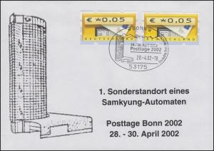5.2 ATM 5+5 Pf Brief 1. Sonderstandort eines Samkyung-Automaten BONN 28.4.2002