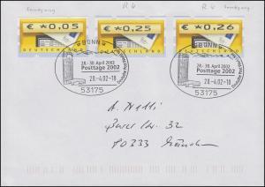 5.2 Samkyung-ATM ohne und mit Nummer mit 5.1. mit Nr., Brief SSt. Bonn 28.4.2002