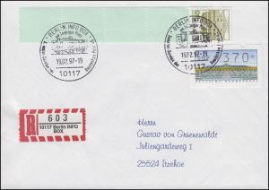 ATM + ZF auf R-Brief mit Sonder-R-Zettel INFO BOX SSt BERLIN 19.2.97