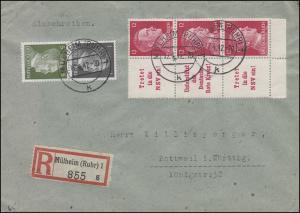 Zusammendrucke Hitler mit W157/156/157 und S272 auf R-Brief MÜLHEIM 17.4.42