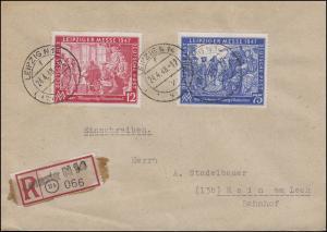 965-966 Messe Leipzig mit Not-R-Zettel auf R-Bf. LEIPZIG N 14 - 24.4.48 n. Rain