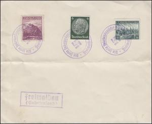 Blanko-Umschlag mit Bug Die freie Sudentendeutsche Stadt Freiwald (Oktober 1938)