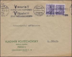 65 Lindenzweig 60 H Paar auf Brief Victoria-Werbestempel PRAG / PRAHA 23.9.41