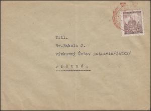 41 Brünn 1,20 K als EF auf Brief roter Victoriastempel ZLIN 3.9.41 nach Prstne