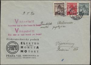 21ff Lindenzweig-MiF auf Brief roter Victoria-Propagandastempel PRAG 24.7.41