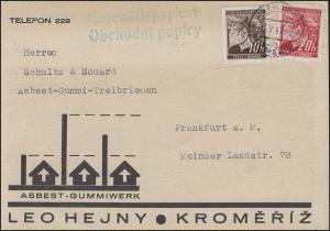 21+22 Lindenzweig-MiF auf Karte Asbest-Gummiwerk KREMSIER / KROMERIZ 13.5.41