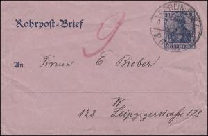 Rohrpostumschlag RU 5 Germania 30 Pf. BERLIN P6 (R3) an P9 (R9) 6.12.1902