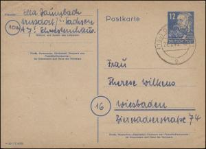 P 36a/01 Engels mit DV M 301 / C 8088 von DRESDEN 21.2.49 nach Wiesbaden