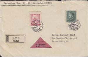 68 Prag + 104 Freimarke NN-R-Brief PRAG / PRAHA 17 - 25.8.42 nach Hamburg