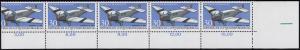 1522 Luftpost 30 Pf UR-Streifen mit 4 1/2 Marken, breiter rechter Eck-Rand **
