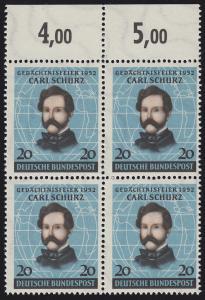 155 Carl Schurz 1952 - Oberrand-Viererblock **