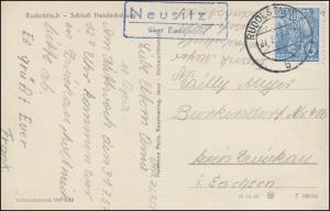 Landpost Neusitz über RUDOLSTADT 27.7.57 auf AK Schloss Heidecksburg mit 578