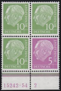 Zusammendruck Heuss W 7 mit HAN 15242.54 2 im Unterrand-Viererblock, **