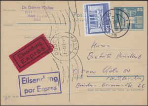 Postkarte P 80 Bauwerke 25 Pf mit 1880 als Express-PK SCHWERIN 8.2.82 nach Köln
