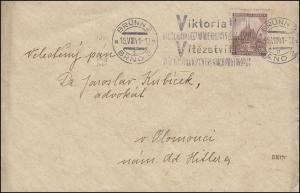 41 Brünn 1,20 K als EF auf Brief mit Victoriastempel BRÜNN 15.8.41 n. Olomouci