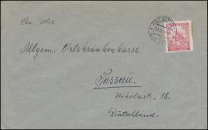68 Prag 1,20 K als EF auf Brief von KOLLAUTSCHEN / KOLOVEC 10.2.42 nach Passau.