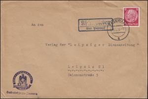 ASCHERSLEBEN PASEWALK 8.7.39 Fachgruppe Imker an Bienenzeitung in Leipzig