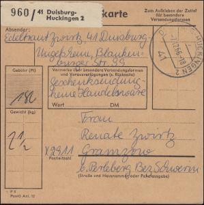 455 Schloss Tegel MeF 12mal Paketkarte DUISBURG-HUCKINGEN 7.12.66 nach Gramzow