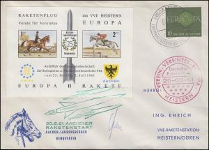 Raketenpost 25.6.61 Achener Reitturnier Brief Vignette Europa-Rakete SSt AACHEN