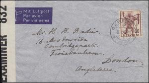 Englische Zensur 832: Schweiz 379 EF auf Brief GENEVE / GENF 5.1.42 nach London