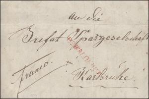Baden Vorphilatelie Brief von 1844 mit Einzeiler rot R2 WALDSHUT nach Karlsruhe