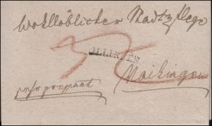 Vorphilatelie Württemberg Briefhülle Einzeiler ILLINGEN nach Vaihingen