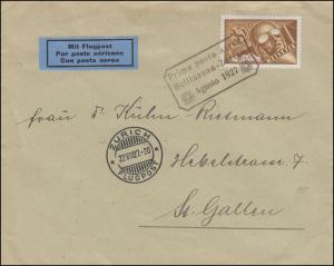 Flugpost Prima post aerea Bellinzona-Zurige Agosto 1927 Brief ZÜRICH 22.8.1927