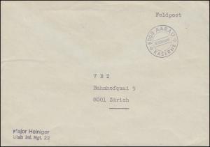Schweizer Militärpost 5000 AARAU Militärpost KASERNE als Feldpost nach Zürich