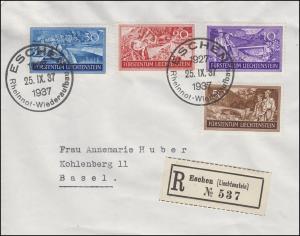 152-155 Arbeitsbeschaffung 1937 R-Brief SSt ESCHEN Rheinnot-Wiederaufbau 25.9.37