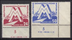 282-283 Leipziger Messe 1951, Satz mit Druckvermerk, ungefaltet, **