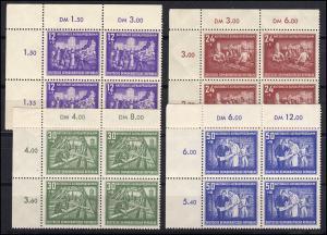 303-306 Aufbauprogramm 1952, Satz als Eckviererblock oben links, ungefaltet, **