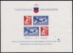 Liechtenstein Block 2 Vaduz 1936 mit auffälligem Farbpunkt über 1936, selten, **