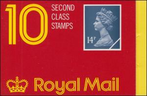 Großbritannien-Markenheftchen O-111 Elisabeth II. Strichcode 200101 - 1988, **