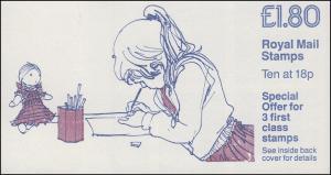 Großbritannien-Markenheftchen O-95 Malendes Mädchen 1986, **