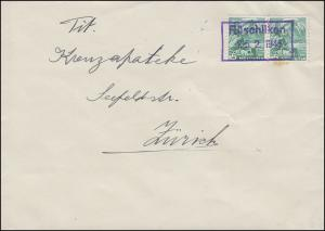 298 Freimarke 5 C MeF auf Brief Rahmenstempel Rüschliken 25.2.1945 nach Zürich