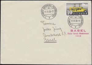 1. Schweiz-Automobil-Postbureau 11.11.38 Orts-Brief EF mit 311I Neben-O Messe