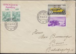 1. Schweiz-Automobil-Postbureau 27.9.37 Brief miF mit 311I Neben-O GRENCHEN