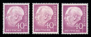 188 Heuss 40 Pf. in 3 verschiedenen Farbvarianten, Set **
