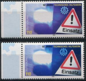 2125 Technisches Hilfswerk Farbvarianten kobaltblau statt violettblau, beide **