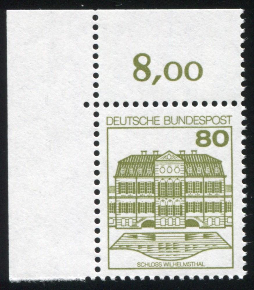 1140AI/I BuS 80 Pf: Ecke oben links mit PLF I teils fehlende Punkte, Feld 1, ** 1