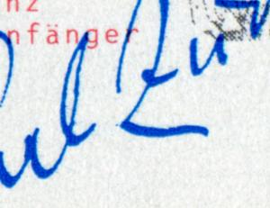 1893 Carl Zuckmayer - 10er-Bogen mit PLF Punkt unten vor dem Z, Feld 2, **