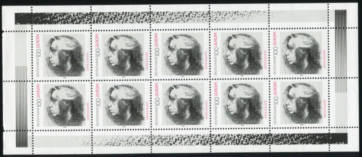 1855 Europa 100 Pf - 10er-Bogen mit PLF schwarzer Fleck im Haar, Feld 2, ** 1