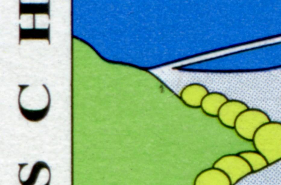 1852 Eifel - 10er-Bogen mit PLF schwarzer Fleck im Grün unter dem C, Feld 5, ** 0